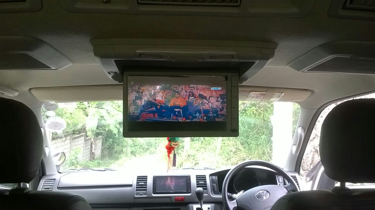 Inside picture of van hire with TV