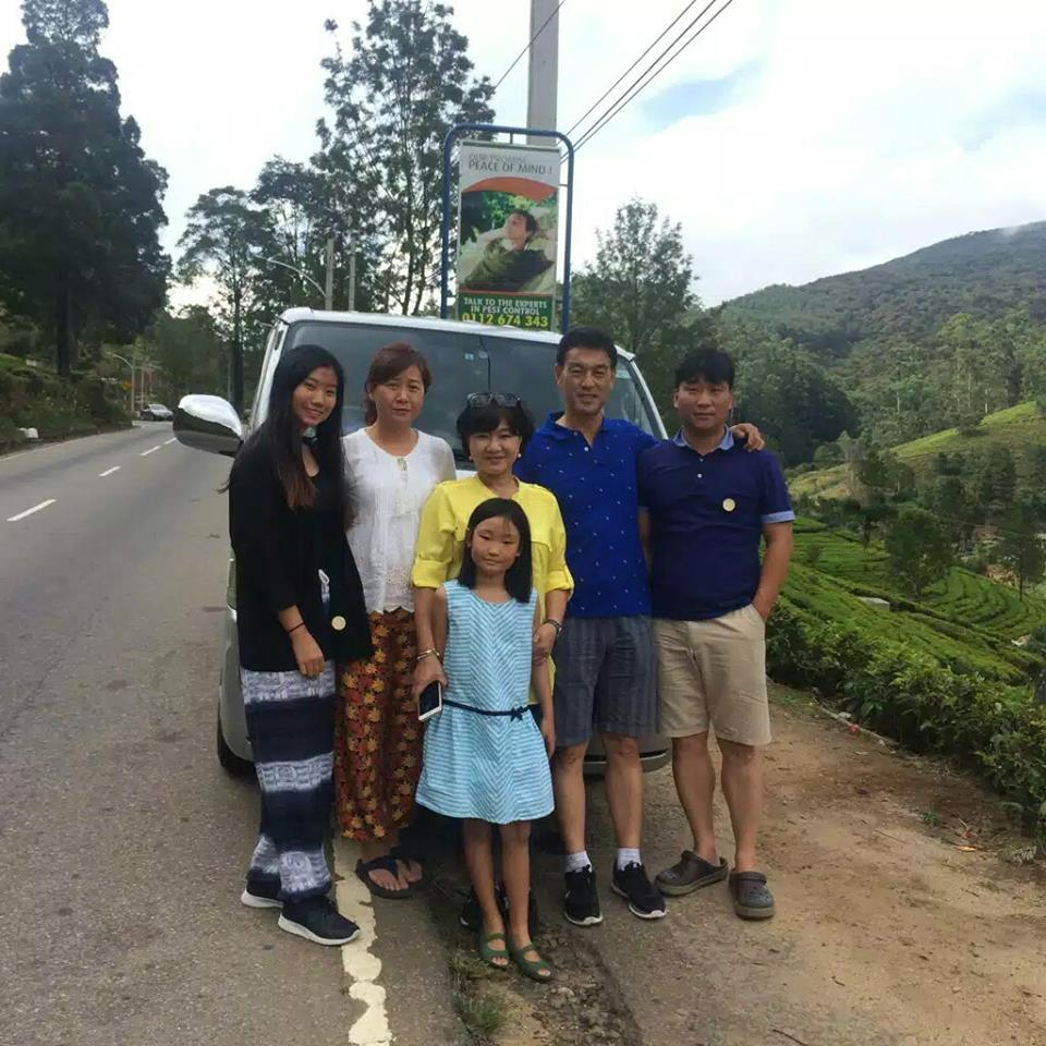 Chineese guests with a driver in SriLanka